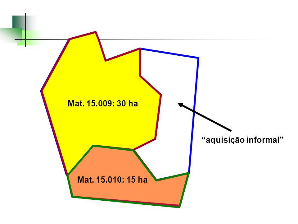 Mat. 15.009: 30 ha CCIR: 45 ha Geo: 43,3 ha CCIR 45 hectares antiga Mat. 6.091 Mat. 15.009: 30 ha Mat. 15.010: 15 ha aquisição informal