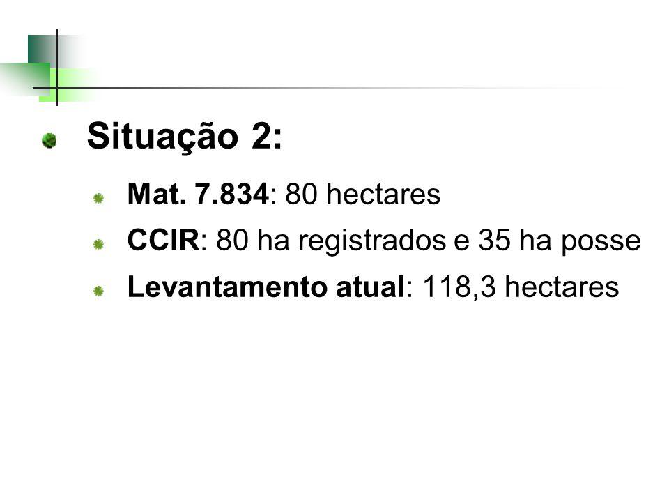 Situação 2: Mat. 7.834: 80 hectares CCIR: 80 ha registrados e 35 ha posse Levantamento atual: 118,3 hectares