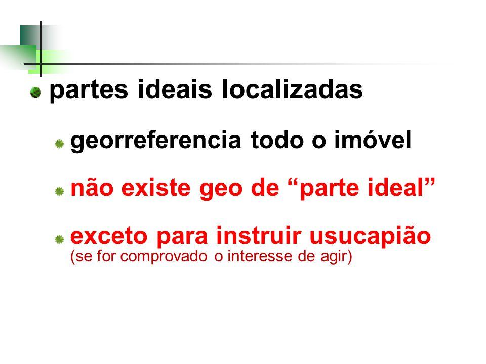 partes ideais localizadas georreferencia todo o imóvel não existe geo de parte ideal exceto para instruir usucapião (se for comprovado o interesse de