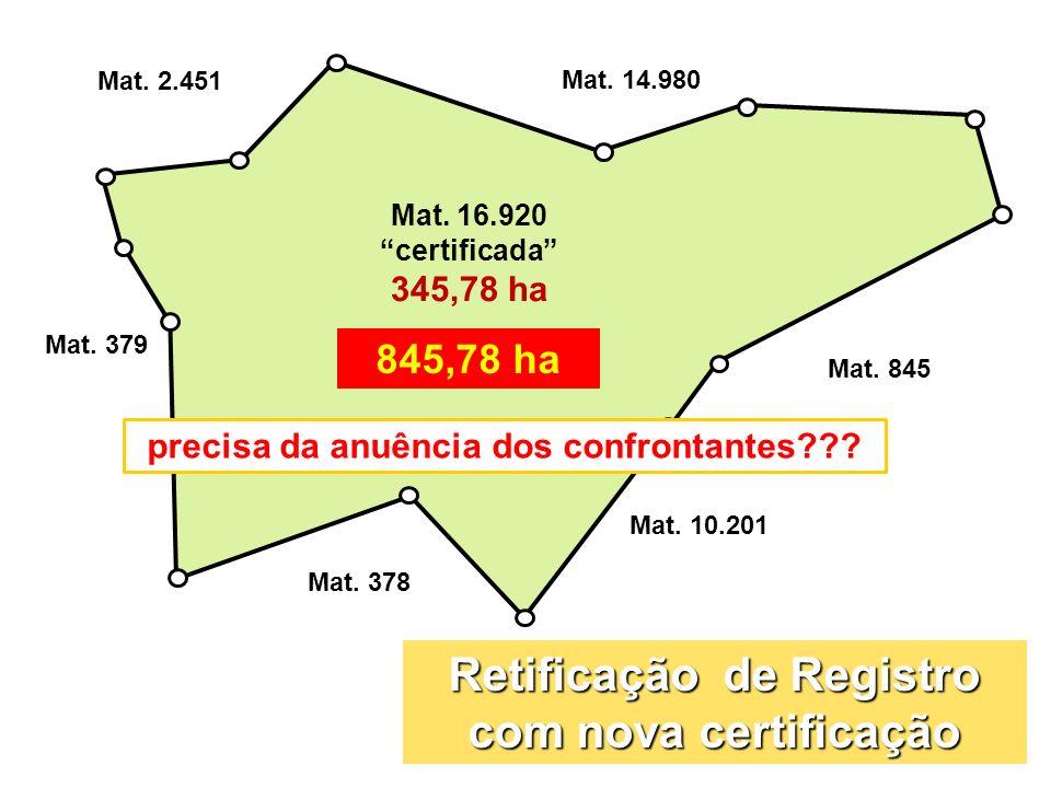 Mat. 16.920 certificada 345,78 ha Mat. 845 Mat. 378 Mat. 14.980 Mat. 379 Mat. 2.451 Mat. 10.201 845,78 ha Retificação de Registro com nova certificaçã
