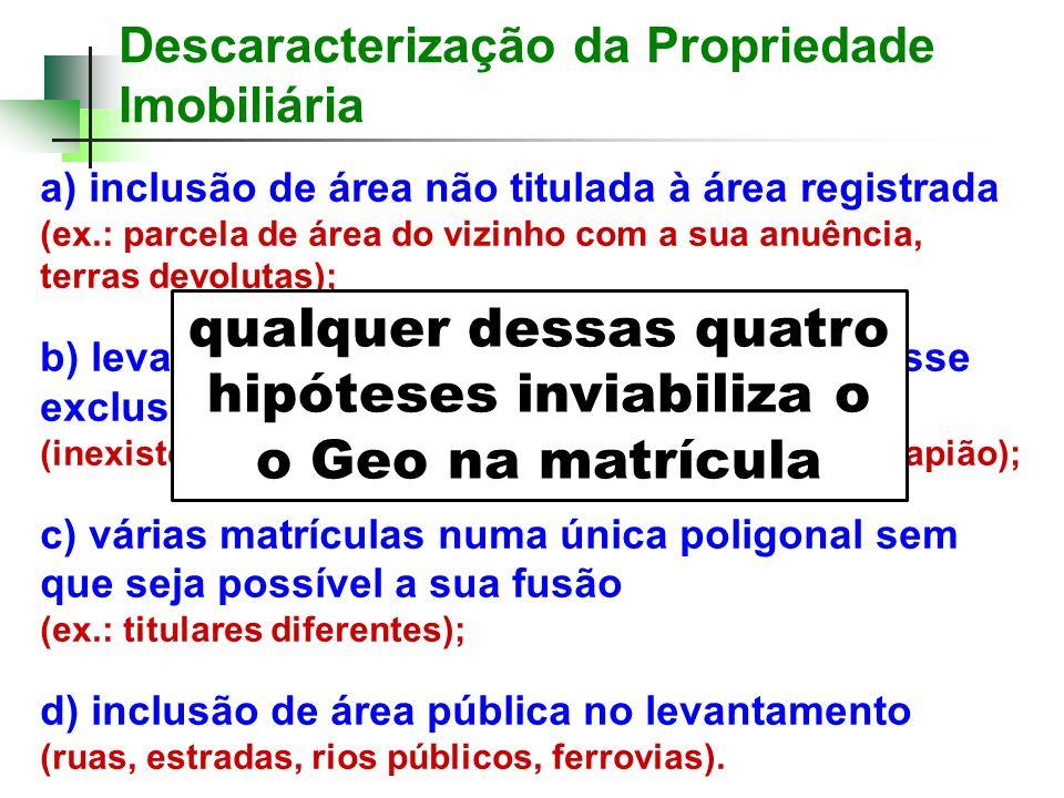 Descaracterização da Propriedade Imobiliária a) inclusão de área não titulada à área registrada (ex.: parcela de área do vizinho com a sua anuência, t