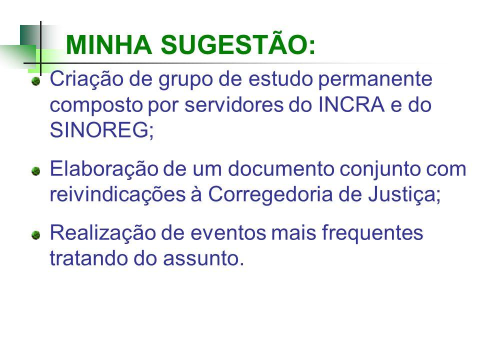 MINHA SUGESTÃO: Criação de grupo de estudo permanente composto por servidores do INCRA e do SINOREG; Elaboração de um documento conjunto com reivindic