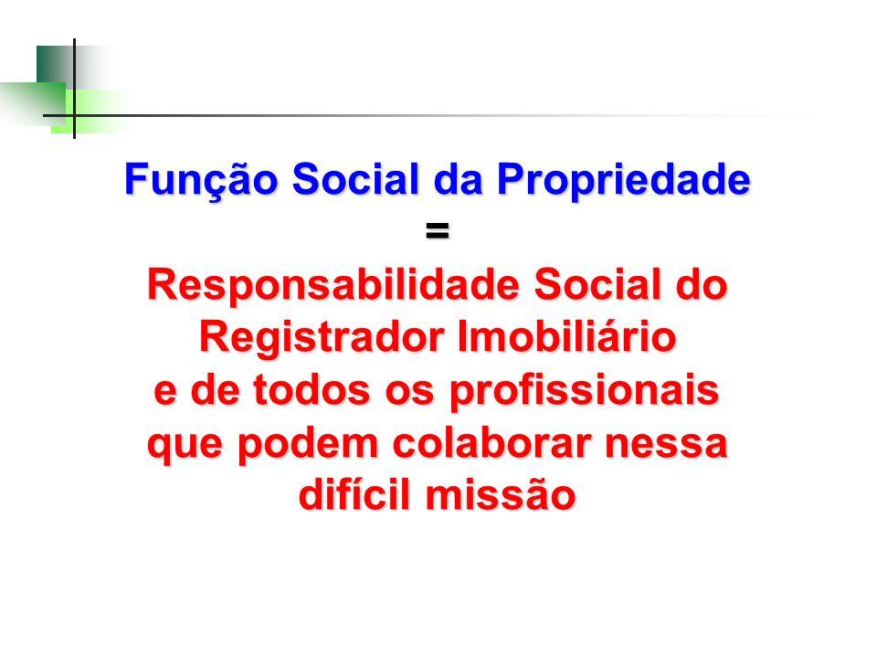 Função Social da Propriedade = Responsabilidade Social do Registrador Imobiliário e de todos os profissionais que podem colaborar nessa difícil missão