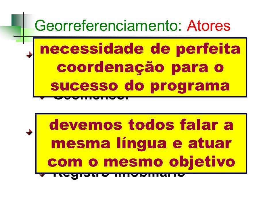 Georreferenciamento: Atores Setor Privado: Proprietário Rural Geomensor Setor Público: Incra Registro Imobiliário necessidade de perfeita coordenação