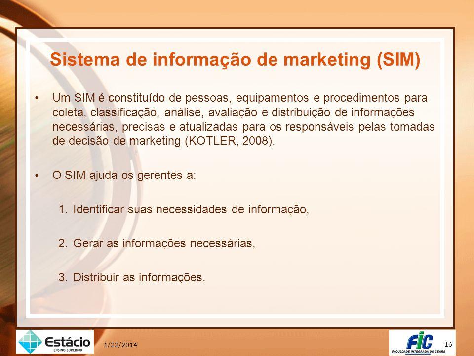 16 1/22/2014 Sistema de informação de marketing (SIM) Um SIM é constituído de pessoas, equipamentos e procedimentos para coleta, classificação, anális