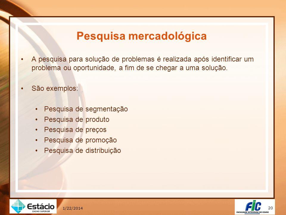 20 1/22/2014 Pesquisa mercadológica A pesquisa para solução de problemas é realizada após identificar um problema ou oportunidade, a fim de se chegar