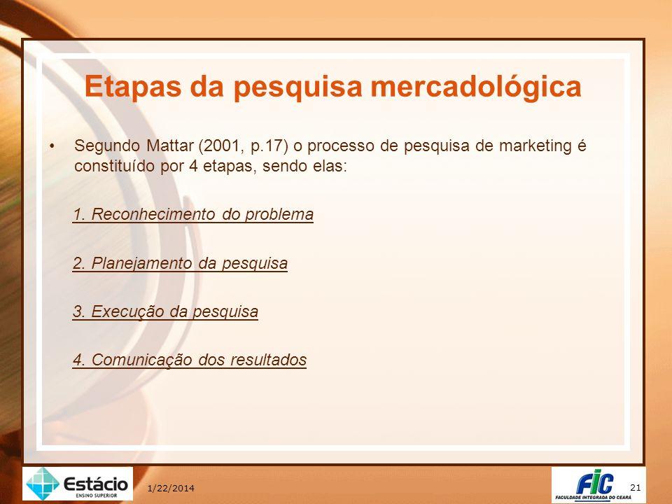 21 1/22/2014 Etapas da pesquisa mercadológica Segundo Mattar (2001, p.17) o processo de pesquisa de marketing é constituído por 4 etapas, sendo elas: