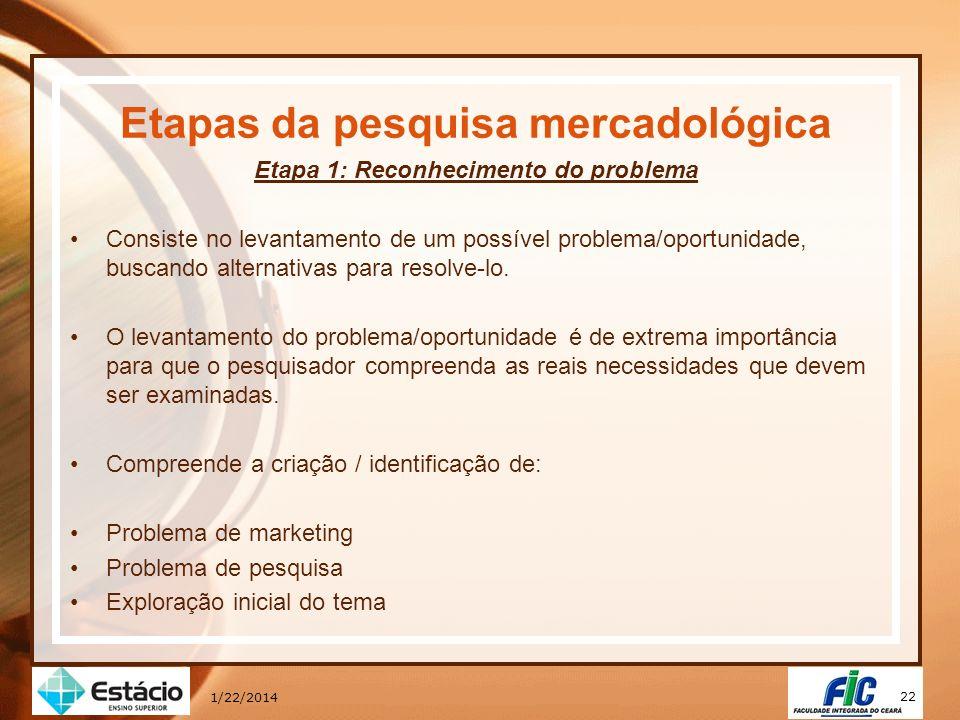 22 1/22/2014 Etapas da pesquisa mercadológica Etapa 1: Reconhecimento do problema Consiste no levantamento de um possível problema/oportunidade, busca