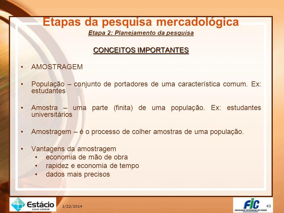 40 1/22/2014 Etapas da pesquisa mercadológica Etapa 2: Planejamento da pesquisa CONCEITOS IMPORTANTES AMOSTRAGEM População – conjunto de portadores de