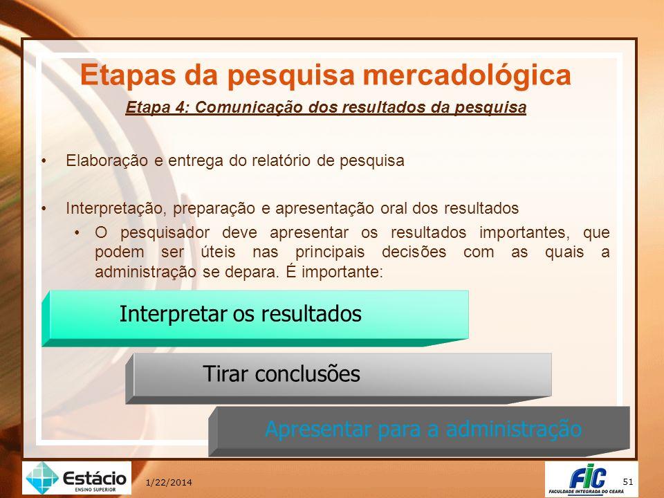 51 1/22/2014 Etapas da pesquisa mercadológica Etapa 4: Comunicação dos resultados da pesquisa Elaboração e entrega do relatório de pesquisa Interpreta