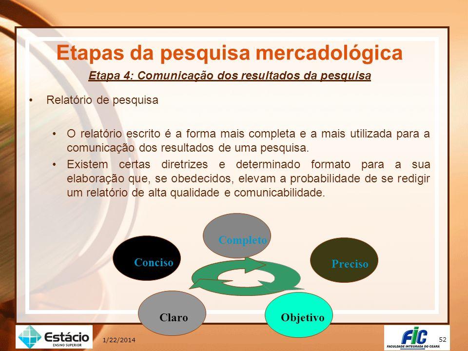 52 1/22/2014 Etapas da pesquisa mercadológica Etapa 4: Comunicação dos resultados da pesquisa Relatório de pesquisa O relatório escrito é a forma mais