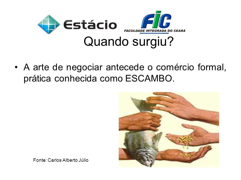 Quando surgiu? A arte de negociar antecede o comércio formal, prática conhecida como ESCAMBO. Fonte: Carlos Alberto Júlio