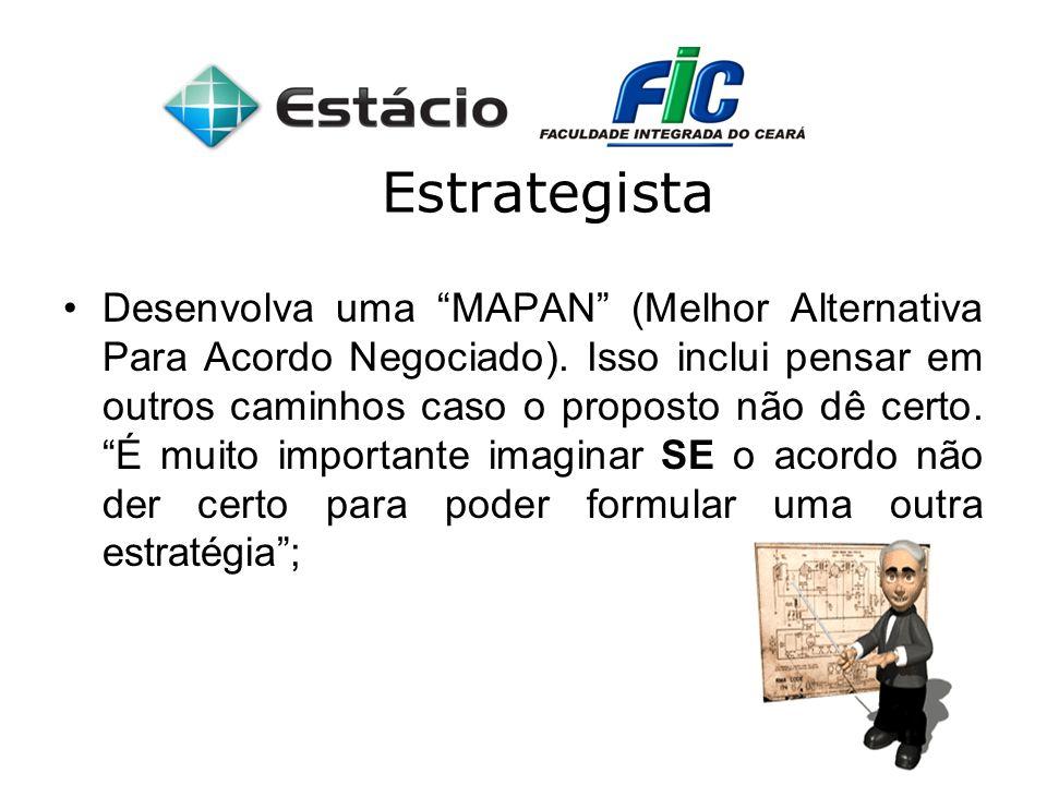 Estrategista Desenvolva uma MAPAN (Melhor Alternativa Para Acordo Negociado). Isso inclui pensar em outros caminhos caso o proposto não dê certo. É mu