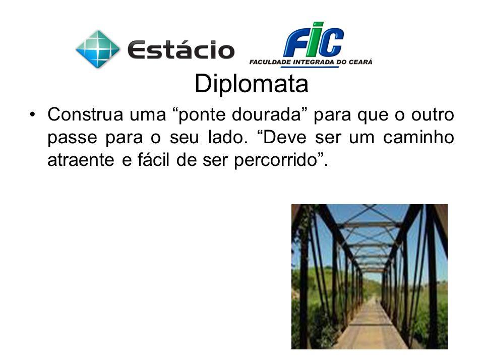 Diplomata Construa uma ponte dourada para que o outro passe para o seu lado. Deve ser um caminho atraente e fácil de ser percorrido.