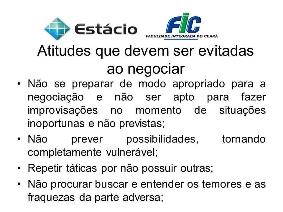 Atitudes que devem ser evitadas ao negociar Não se preparar de modo apropriado para a negociação e não ser apto para fazer improvisações no momento de