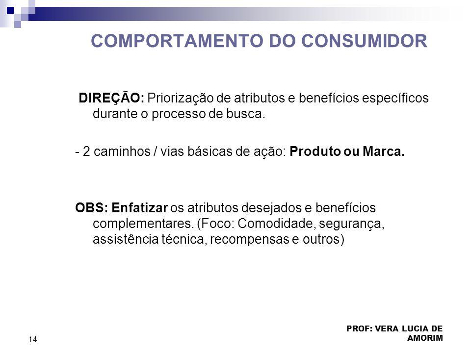 COMPORTAMENTO DO CONSUMIDOR DIREÇÃO: Priorização de atributos e benefícios específicos durante o processo de busca. - 2 caminhos / vias básicas de açã