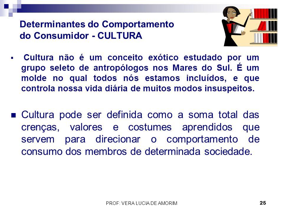 Determinantes do Comportamento do Consumidor - CULTURA Cultura não é um conceito exótico estudado por um grupo seleto de antropólogos nos Mares do Sul