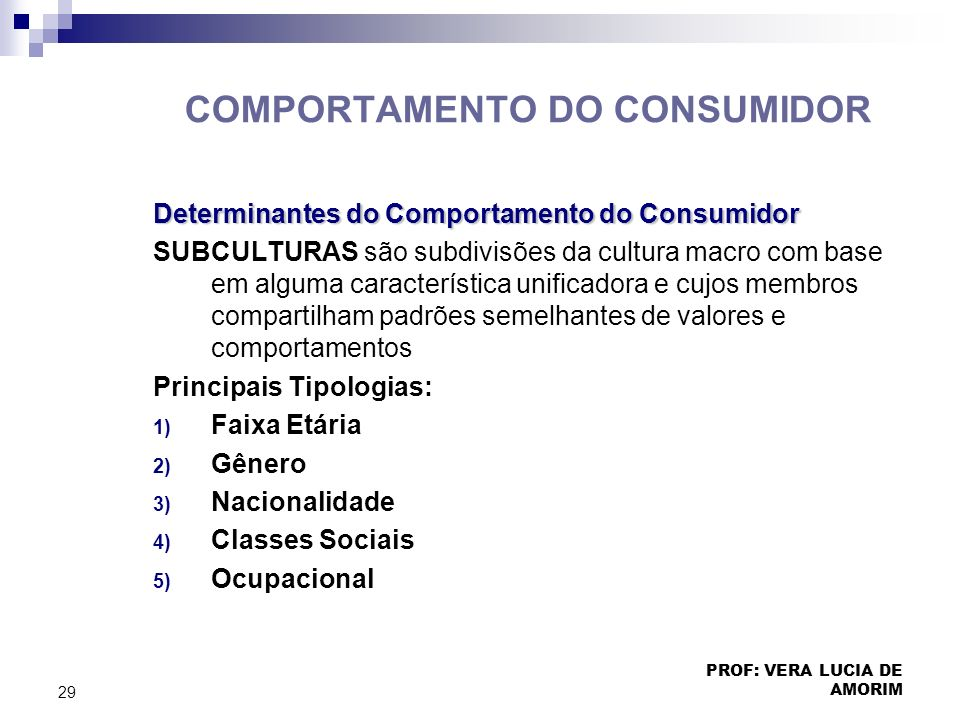 COMPORTAMENTO DO CONSUMIDOR Determinantes do Comportamento do Consumidor SUBCULTURAS são subdivisões da cultura macro com base em alguma característic