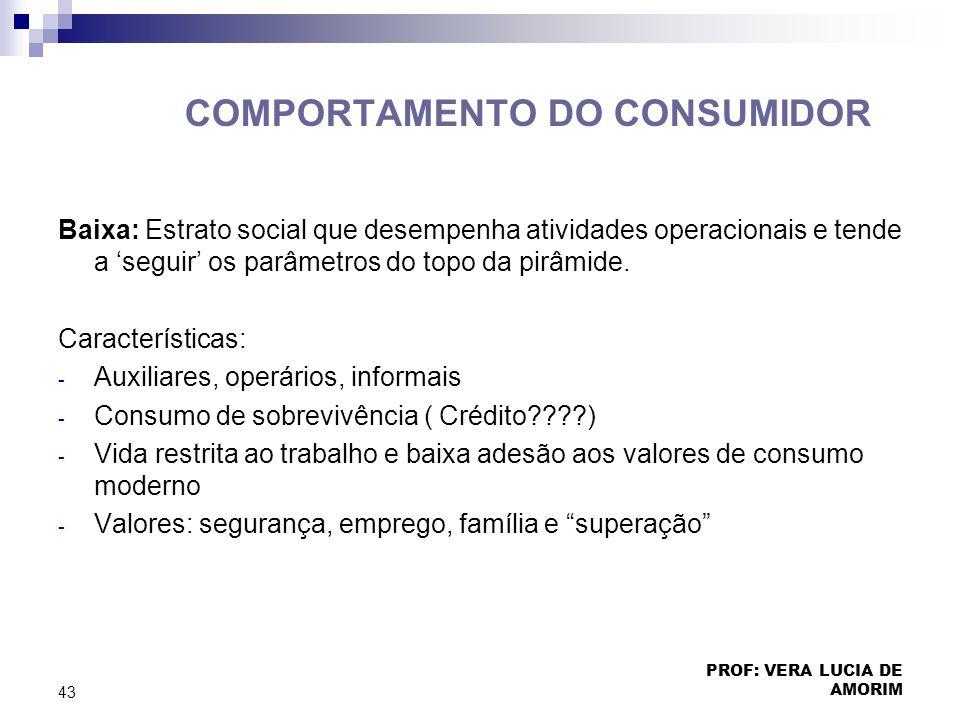 COMPORTAMENTO DO CONSUMIDOR Baixa: Estrato social que desempenha atividades operacionais e tende a seguir os parâmetros do topo da pirâmide. Caracterí