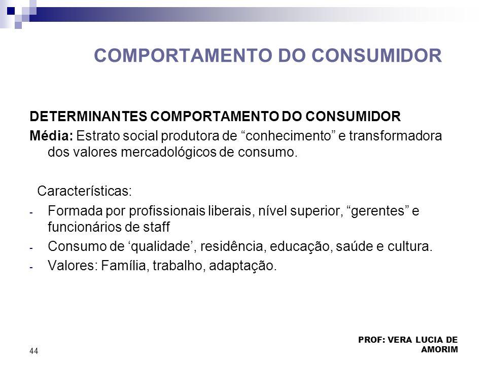 COMPORTAMENTO DO CONSUMIDOR DETERMINANTES COMPORTAMENTO DO CONSUMIDOR Média: Estrato social produtora de conhecimento e transformadora dos valores mer
