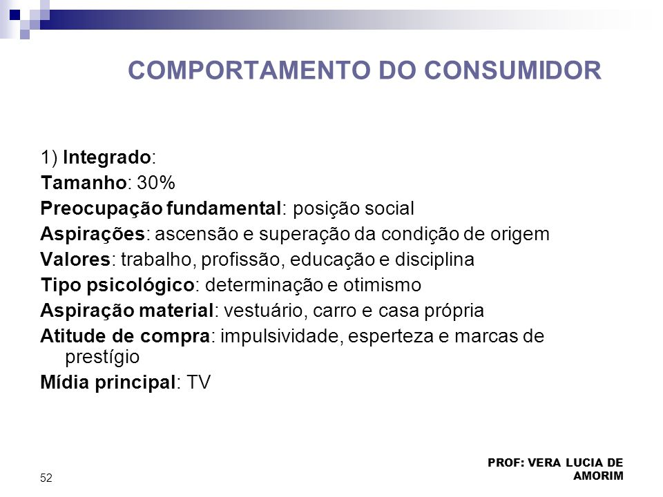 COMPORTAMENTO DO CONSUMIDOR 1) Integrado: Tamanho: 30% Preocupação fundamental: posição social Aspirações: ascensão e superação da condição de origem