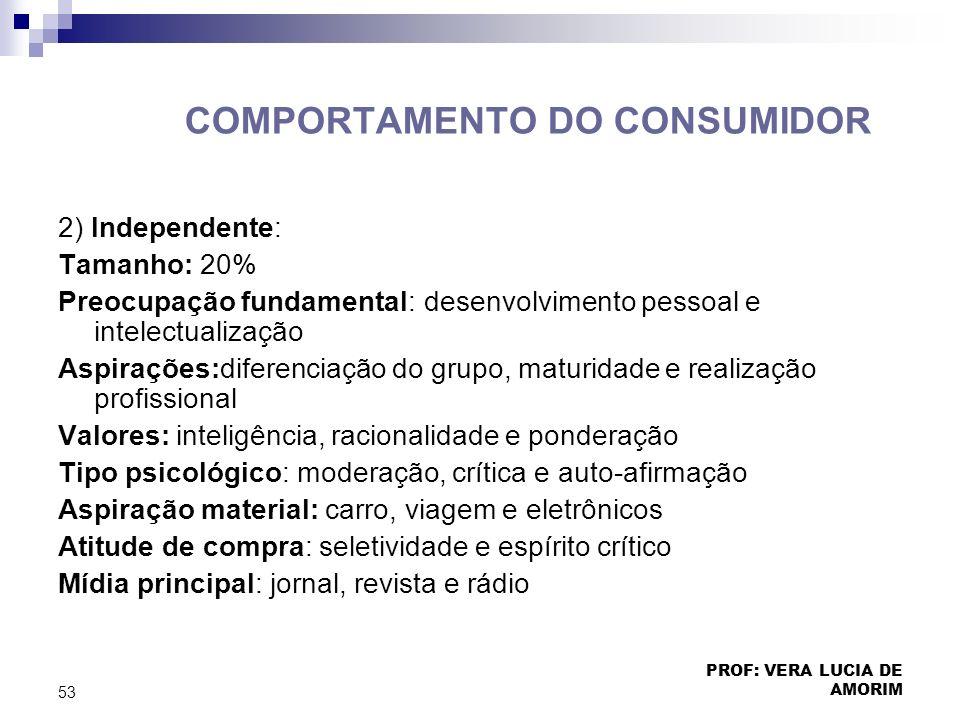 COMPORTAMENTO DO CONSUMIDOR 2) Independente: Tamanho: 20% Preocupação fundamental: desenvolvimento pessoal e intelectualização Aspirações:diferenciaçã