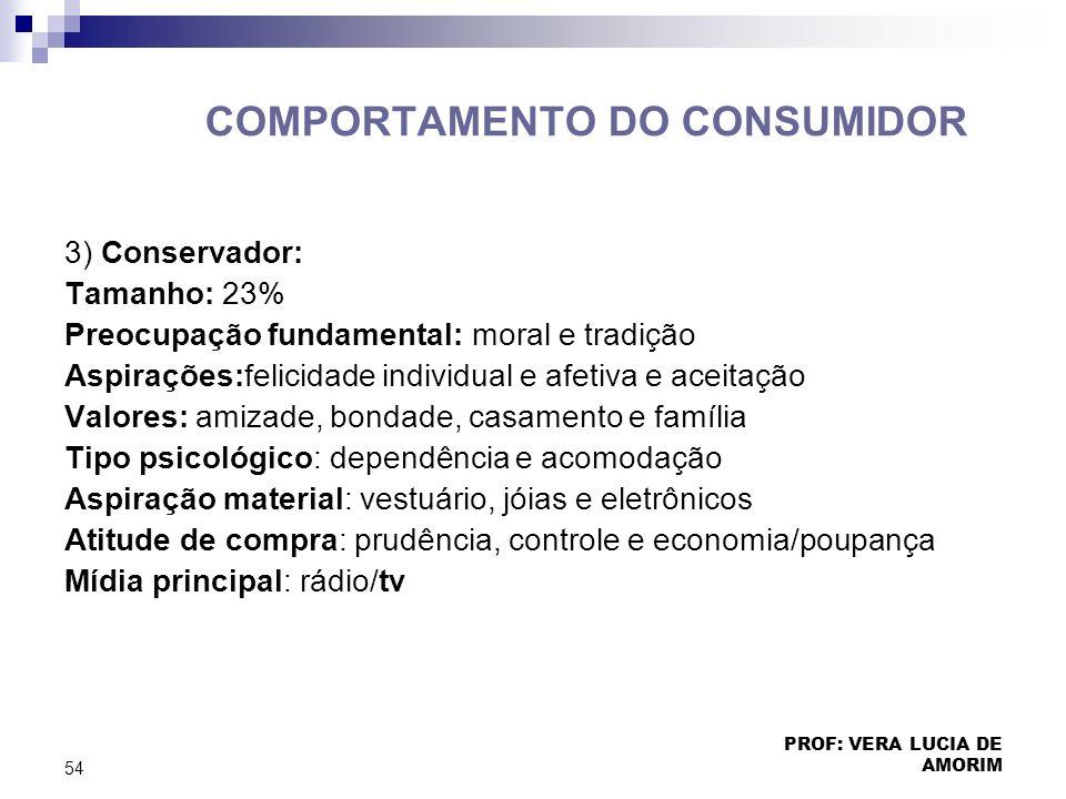 COMPORTAMENTO DO CONSUMIDOR 3) Conservador: Tamanho: 23% Preocupação fundamental: moral e tradição Aspirações:felicidade individual e afetiva e aceita