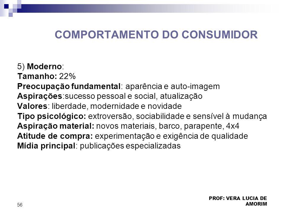 COMPORTAMENTO DO CONSUMIDOR 5) Moderno: Tamanho: 22% Preocupação fundamental: aparência e auto-imagem Aspirações:sucesso pessoal e social, atualização