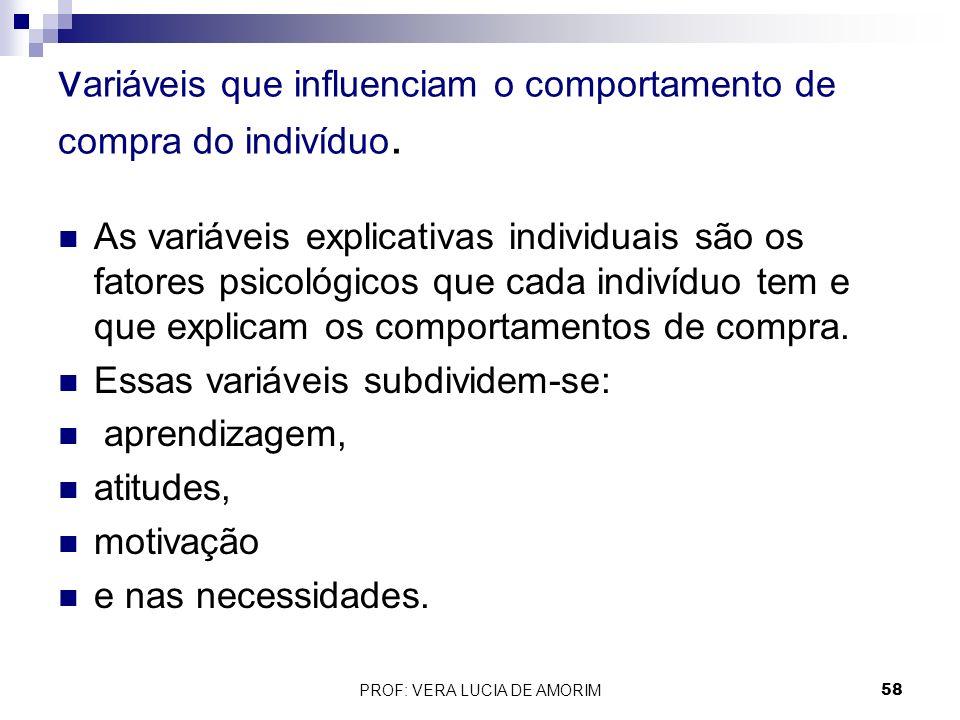 v ariáveis que influenciam o comportamento de compra do indivíduo. As variáveis explicativas individuais são os fatores psicológicos que cada indivídu