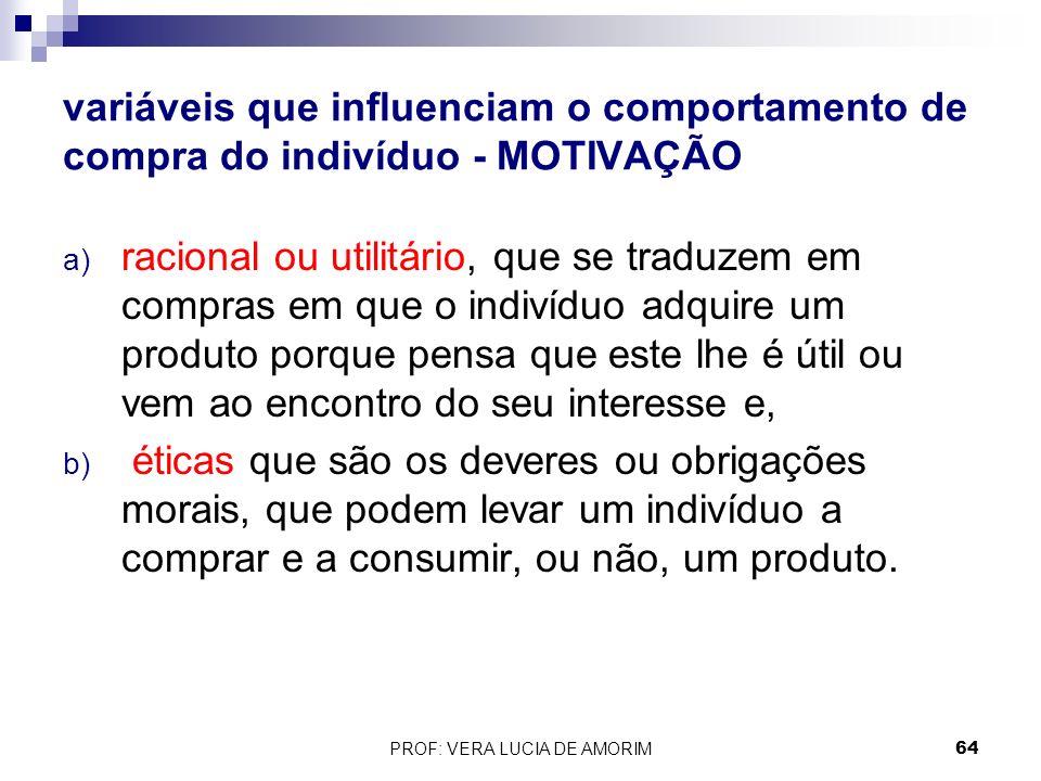 variáveis que influenciam o comportamento de compra do indivíduo - MOTIVAÇÃO a) racional ou utilitário, que se traduzem em compras em que o indivíduo