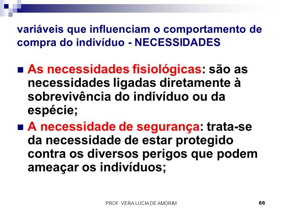variáveis que influenciam o comportamento de compra do indivíduo - NECESSIDADES As necessidades fisiológicas: são as necessidades ligadas diretamente