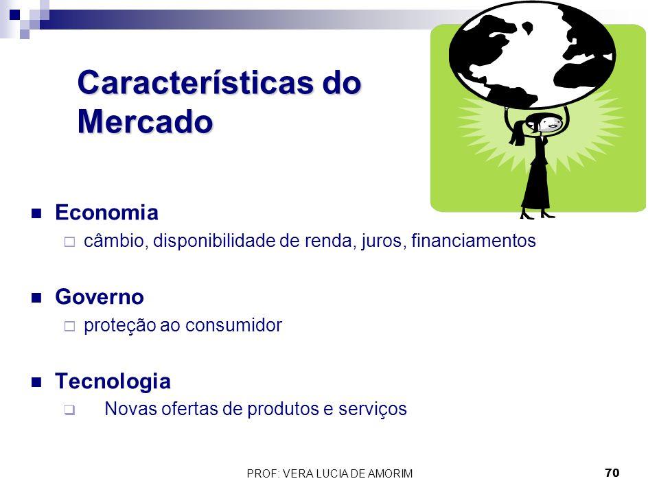 Características do Mercado Economia câmbio, disponibilidade de renda, juros, financiamentos Governo proteção ao consumidor Tecnologia Novas ofertas de