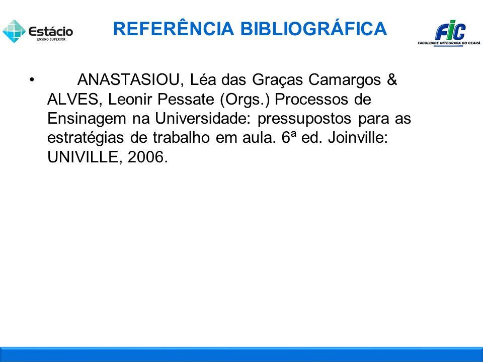 ANASTASIOU, Léa das Graças Camargos & ALVES, Leonir Pessate (Orgs.) Processos de Ensinagem na Universidade: pressupostos para as estratégias de trabalho em aula.