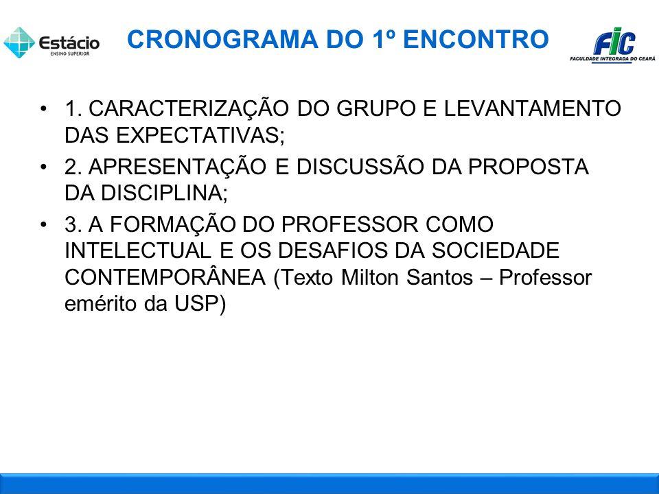 1.CARACTERIZAÇÃO DO GRUPO E LEVANTAMENTO DAS EXPECTATIVAS; 2.
