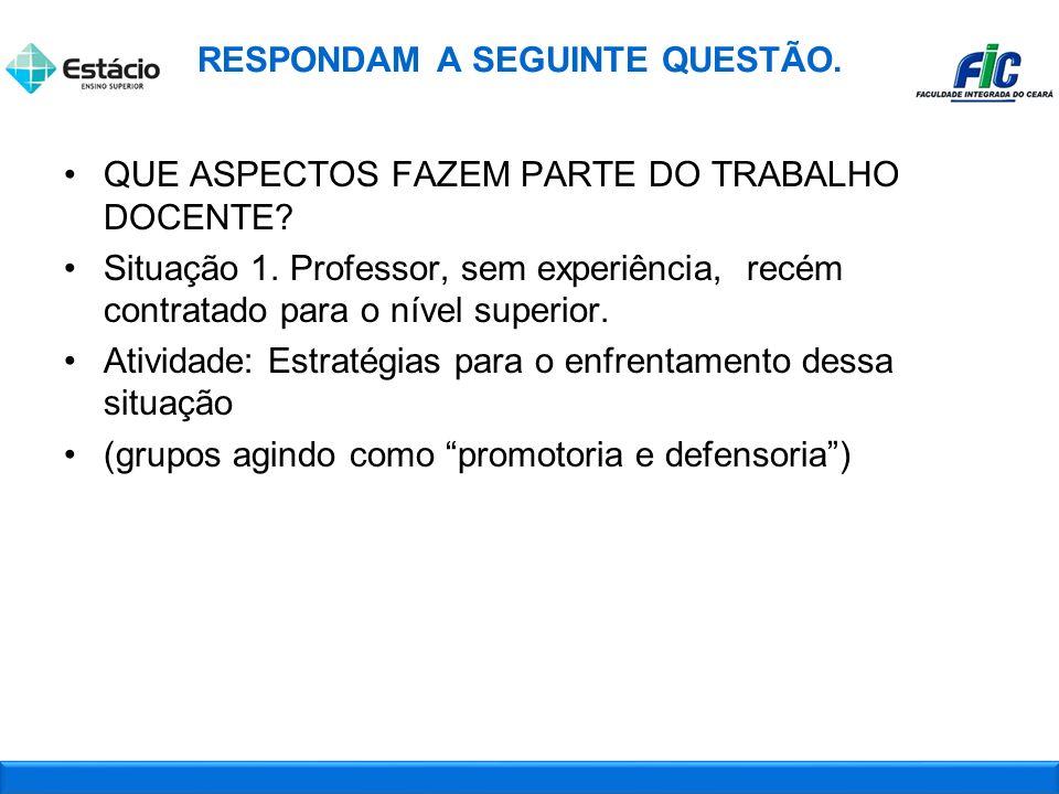 QUE ASPECTOS FAZEM PARTE DO TRABALHO DOCENTE.Situação 1.