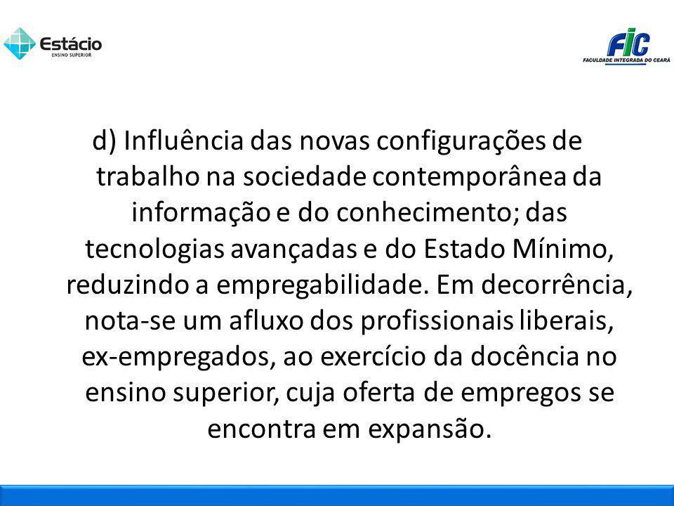 d) Influência das novas configurações de trabalho na sociedade contemporânea da informação e do conhecimento; das tecnologias avançadas e do Estado Mí