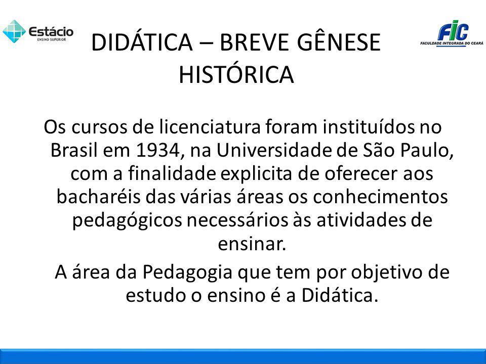 DIDÁTICA – BREVE GÊNESE HISTÓRICA Os cursos de licenciatura foram instituídos no Brasil em 1934, na Universidade de São Paulo, com a finalidade explic