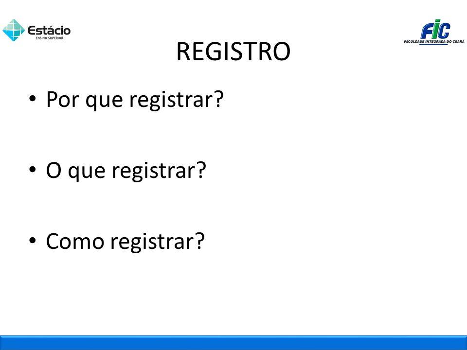 Por que registrar? O que registrar? Como registrar? REGISTRO