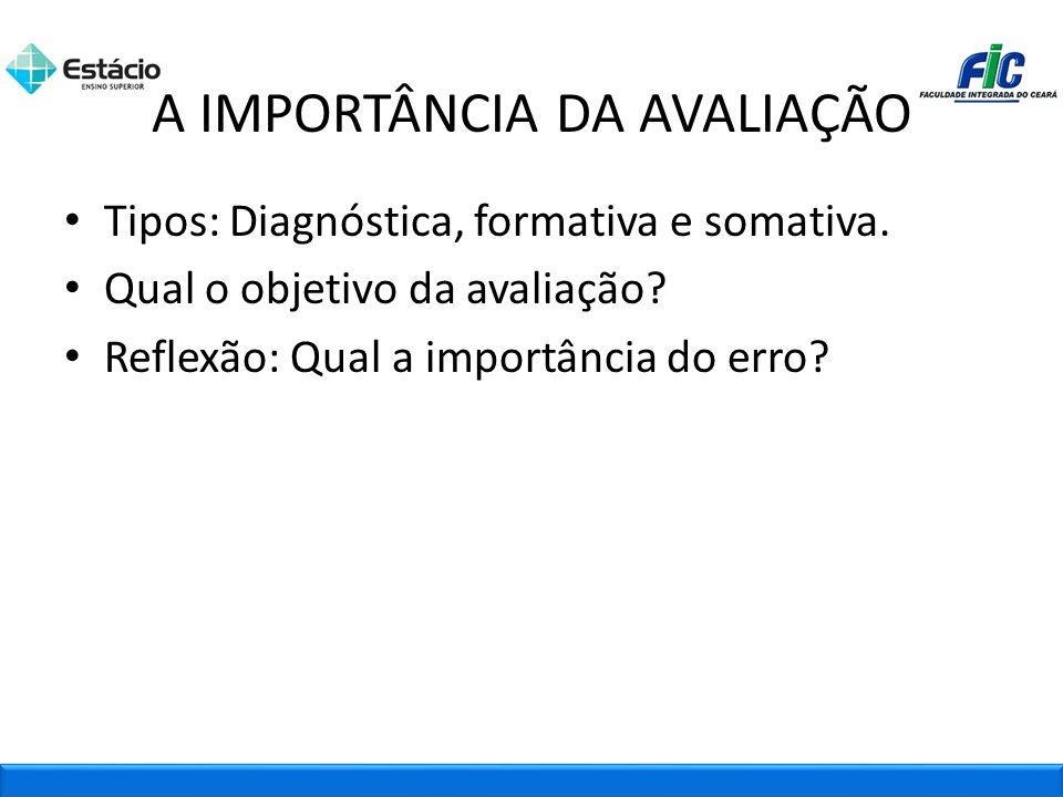 Tipos: Diagnóstica, formativa e somativa. Qual o objetivo da avaliação? Reflexão: Qual a importância do erro? A IMPORTÂNCIA DA AVALIAÇÃO