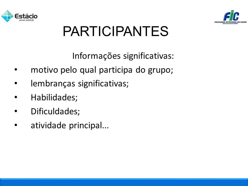 Informações significativas: motivo pelo qual participa do grupo; lembranças significativas; Habilidades; Dificuldades; atividade principal... PARTICIP