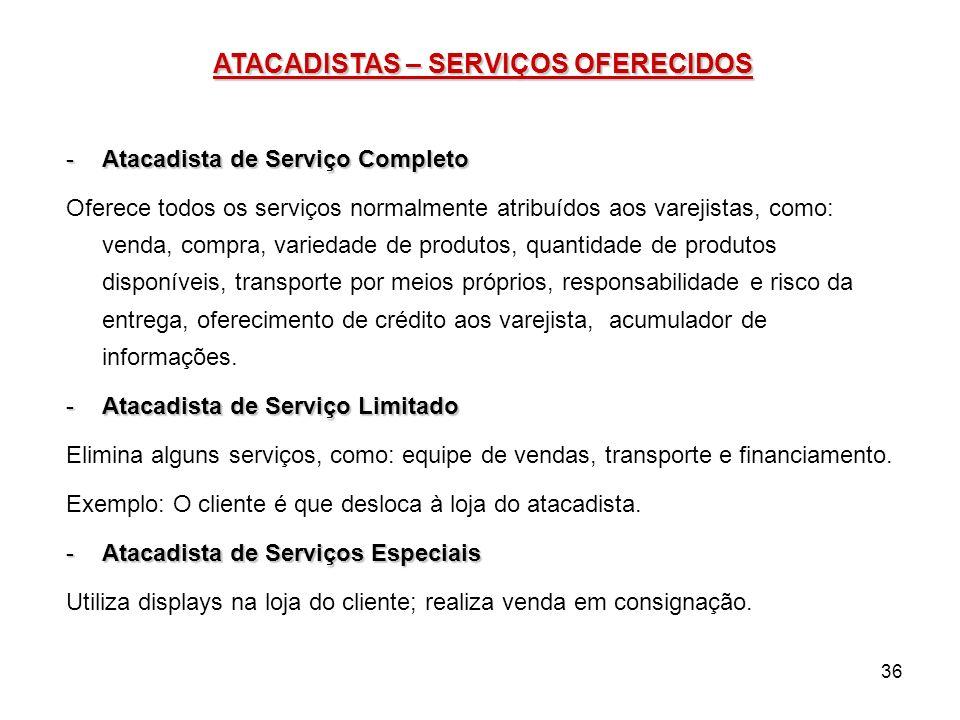 36 ATACADISTAS – SERVIÇOS OFERECIDOS -Atacadista de Serviço Completo Oferece todos os serviços normalmente atribuídos aos varejistas, como: venda, com