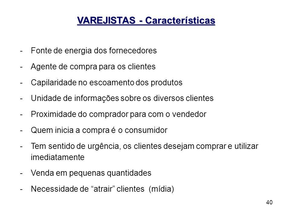 40 VAREJISTAS - Características -Fonte de energia dos fornecedores -Agente de compra para os clientes -Capilaridade no escoamento dos produtos -Unidad