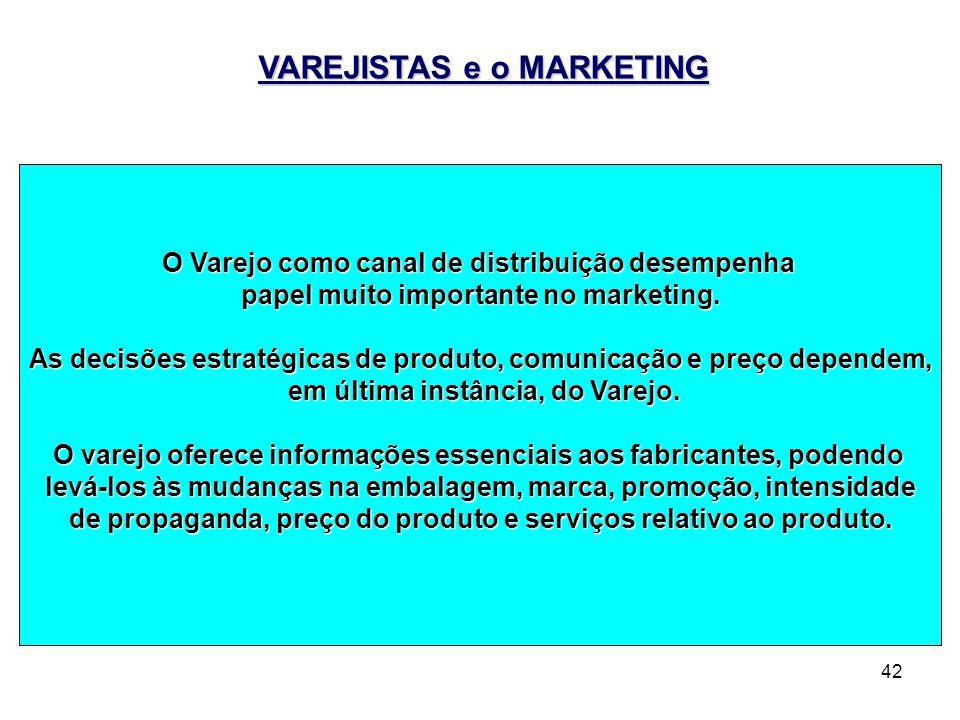 42 VAREJISTAS e o MARKETING O Varejo como canal de distribuição desempenha papel muito importante no marketing. As decisões estratégicas de produto, c
