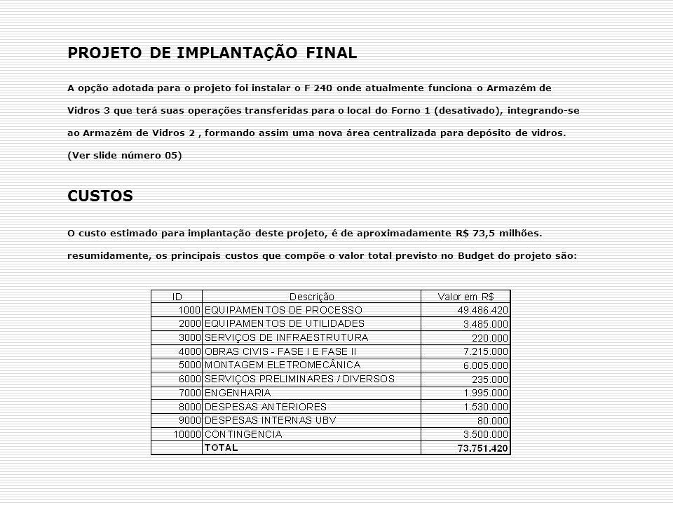 PRAZOS O PROJETO DE INSTALAÇÃO DO NOVO FORNO 4 – F240 NA FASE DE IMPLANTAÇÃO TEVE UM PERÍODO DE DURAÇÃO DE 02 ANOS ENTRE 2004 A 2006.