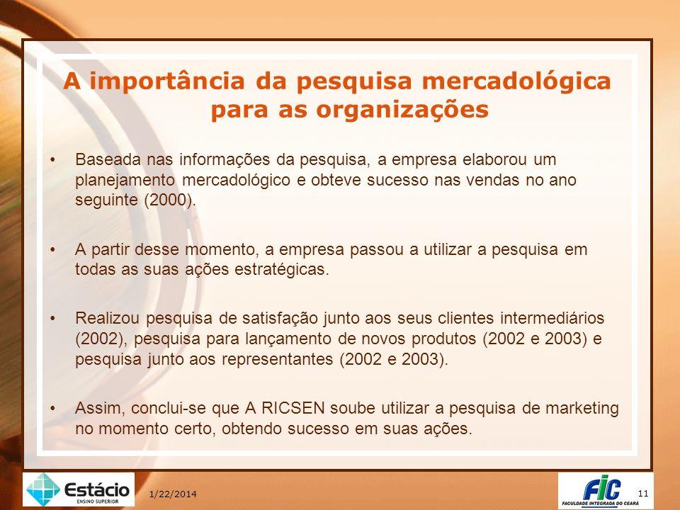 11 1/22/2014 A importância da pesquisa mercadológica para as organizações Baseada nas informações da pesquisa, a empresa elaborou um planejamento merc