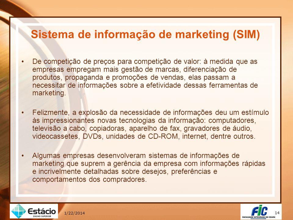 14 1/22/2014 Sistema de informação de marketing (SIM) De competição de preços para competição de valor: à medida que as empresas empregam mais gestão