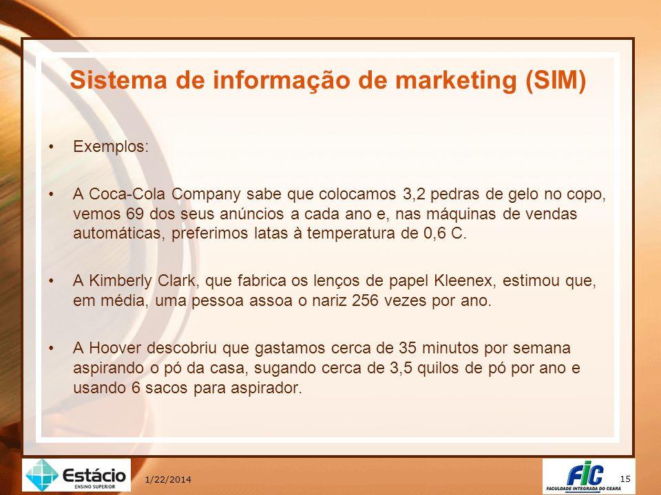 15 1/22/2014 Sistema de informação de marketing (SIM) Exemplos: A Coca-Cola Company sabe que colocamos 3,2 pedras de gelo no copo, vemos 69 dos seus a