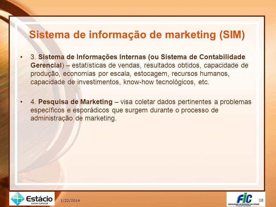 18 1/22/2014 Sistema de informação de marketing (SIM) 3. Sistema de Informações Internas (ou Sistema de Contabilidade Gerencial) – estatísticas de ven
