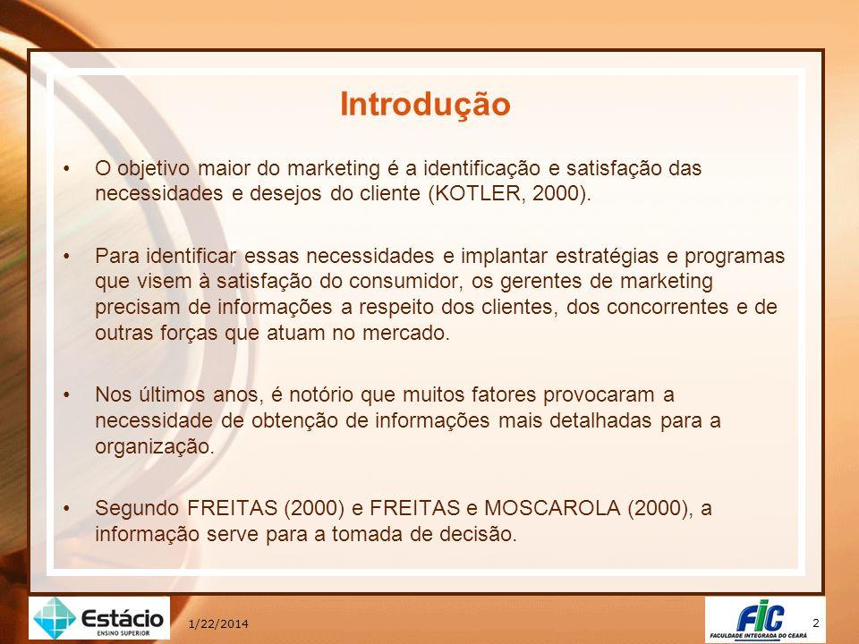 2 Introdução O objetivo maior do marketing é a identificação e satisfação das necessidades e desejos do cliente (KOTLER, 2000). Para identificar essas