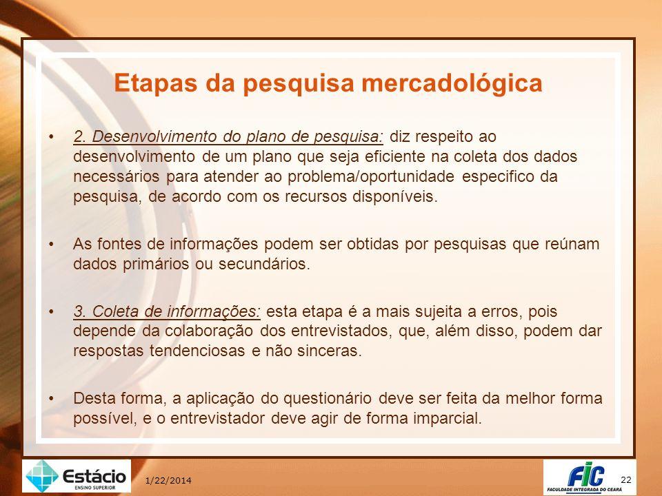 22 1/22/2014 Etapas da pesquisa mercadológica 2. Desenvolvimento do plano de pesquisa: diz respeito ao desenvolvimento de um plano que seja eficiente